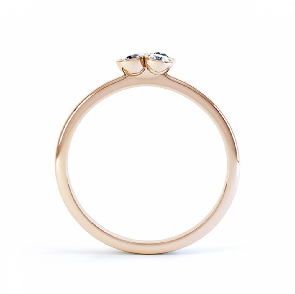 Clover diamond stacking ring in rose gold side view