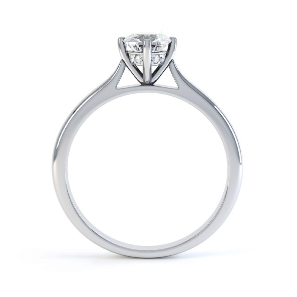 Diamond Accent 4 Claw Solitaire Engagement Ring Side View In White Gold