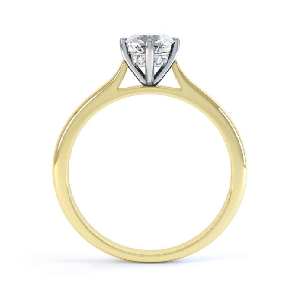 Diamond Accent 4 Claw Solitaire Engagement Ring Side View In Yellow Gold
