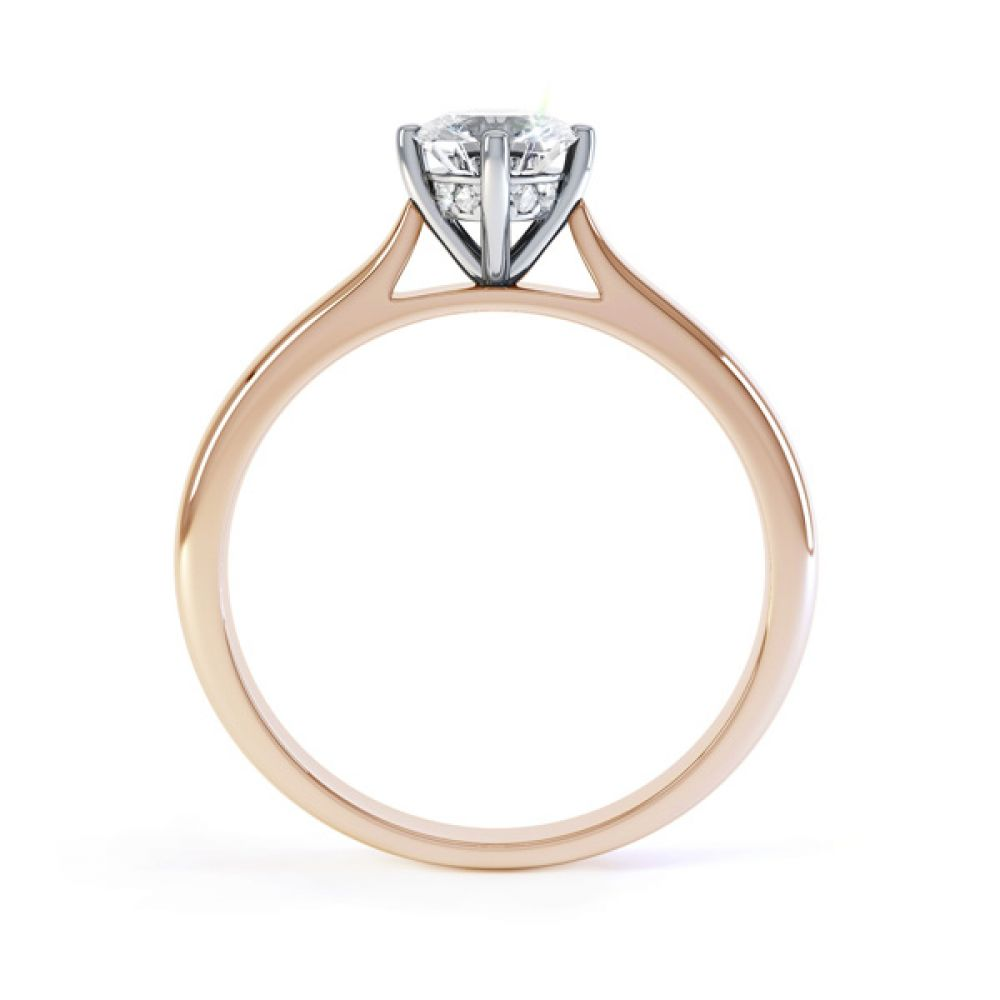 Diamond Accent 4 Claw Solitaire Engagement Ring Side View In Rose Gold