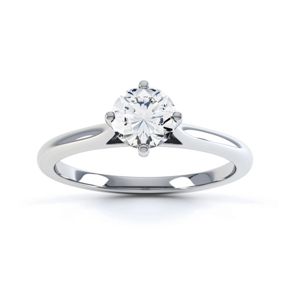 Diamond Accent 4 Claw Solitaire Engagement Ring Front View White Gold