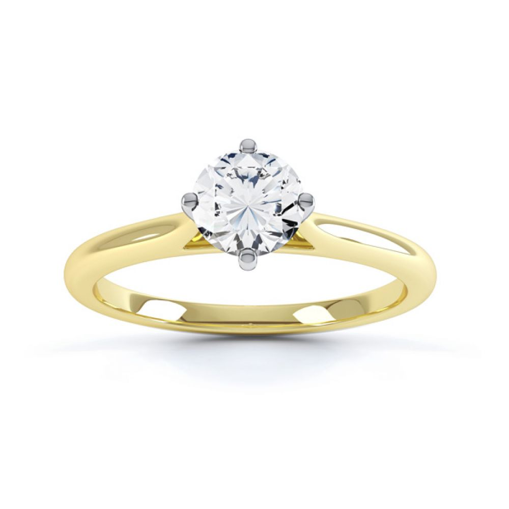 Diamond Accent 4 Claw Solitaire Engagement Ring Front View Yellow Gold