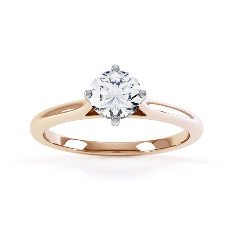 Diamond Accent 4 Claw Solitaire Engagement Ring Front View Rose Gold