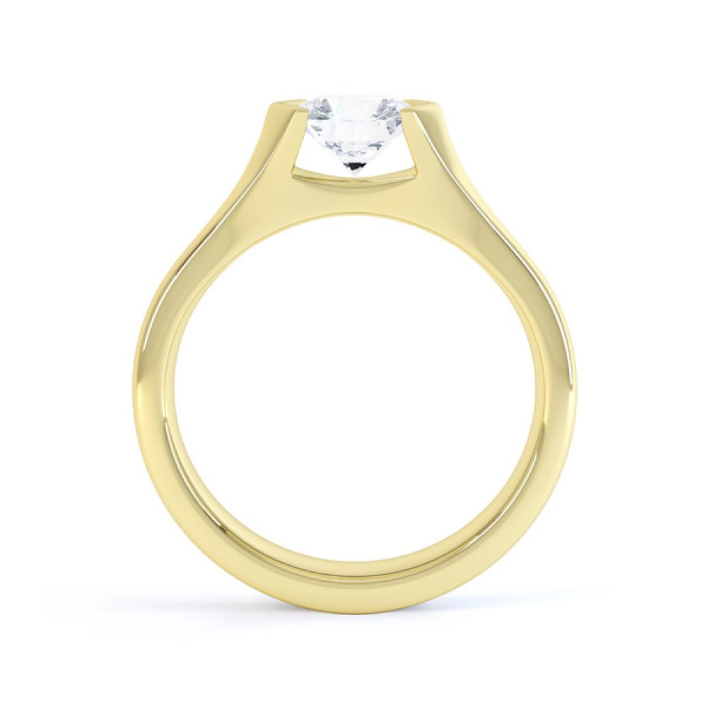 V Shaped Part Bezel Diamond Engagement Ring Side View In Yellow Gold