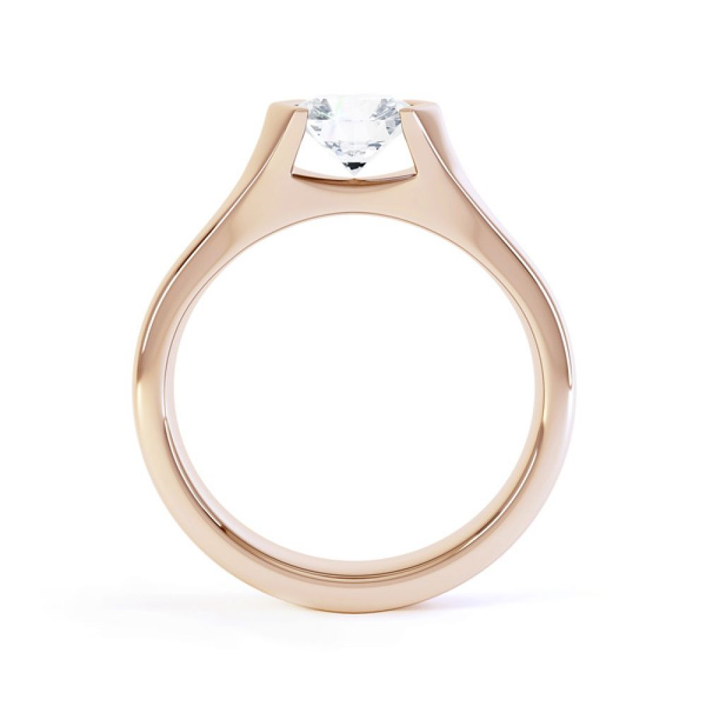 V Shaped Part Bezel Diamond Engagement Ring Side View In Rose Gold