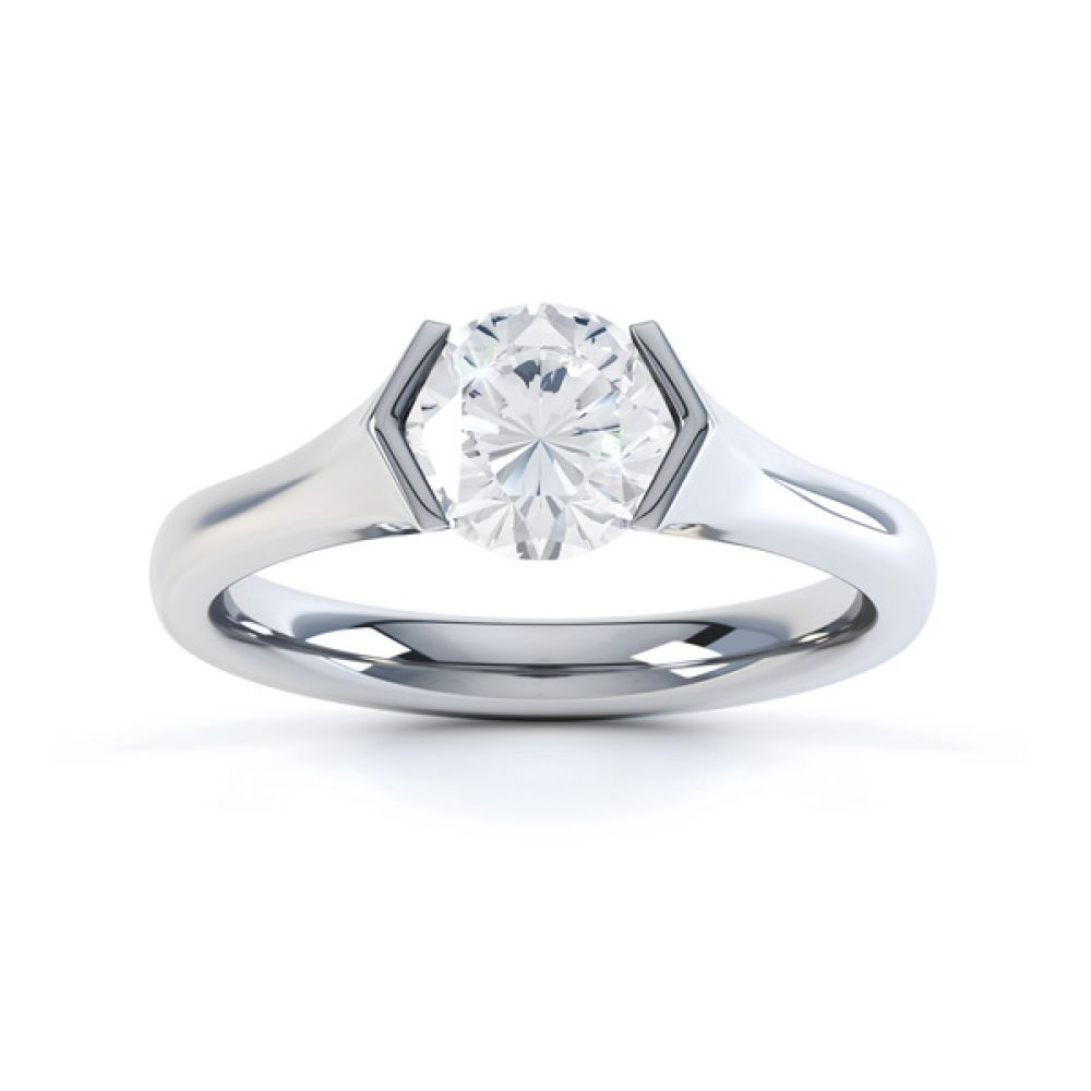V Shaped Part Bezel Diamond Engagement Ring Top View