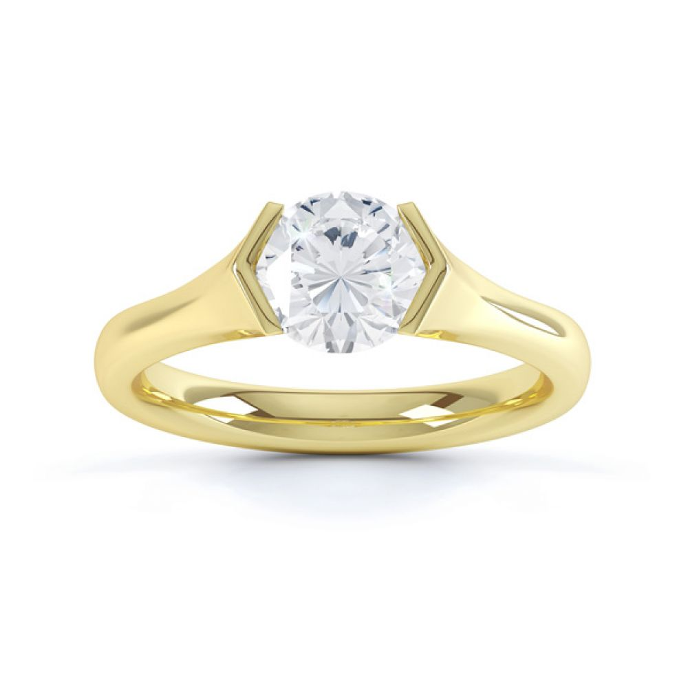 V Shaped Part Bezel Diamond Engagement Ring Top View In Yellow Gold