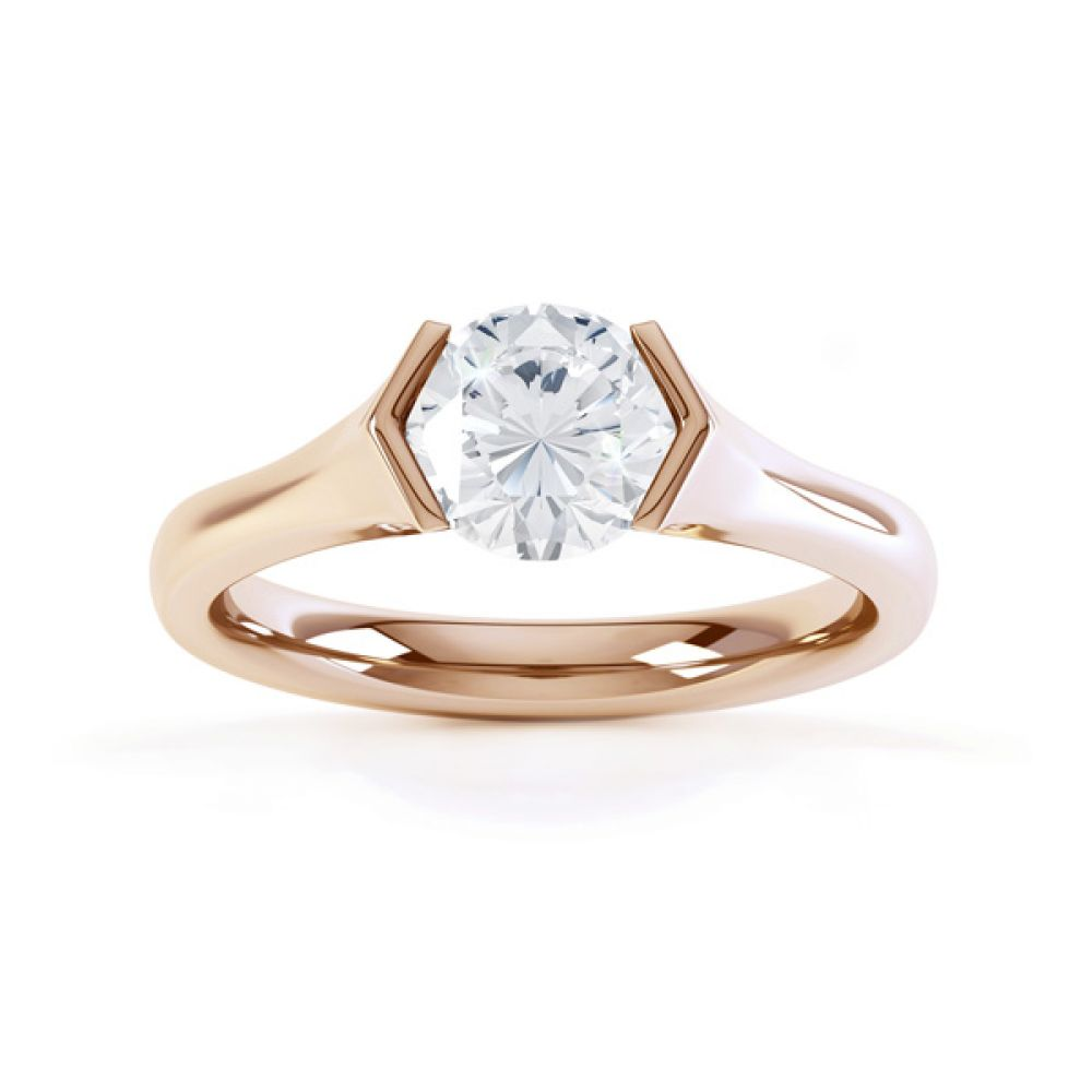 V Shaped Part Bezel Diamond Engagement Ring Top View In Rose Gold