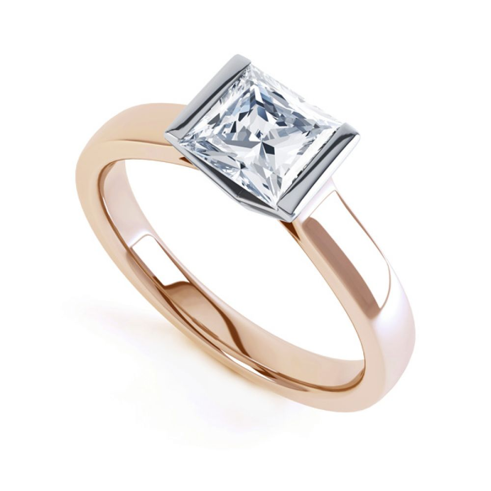 Tension Bar Set Princess Diamond Solitaire Ring In Rose Gold