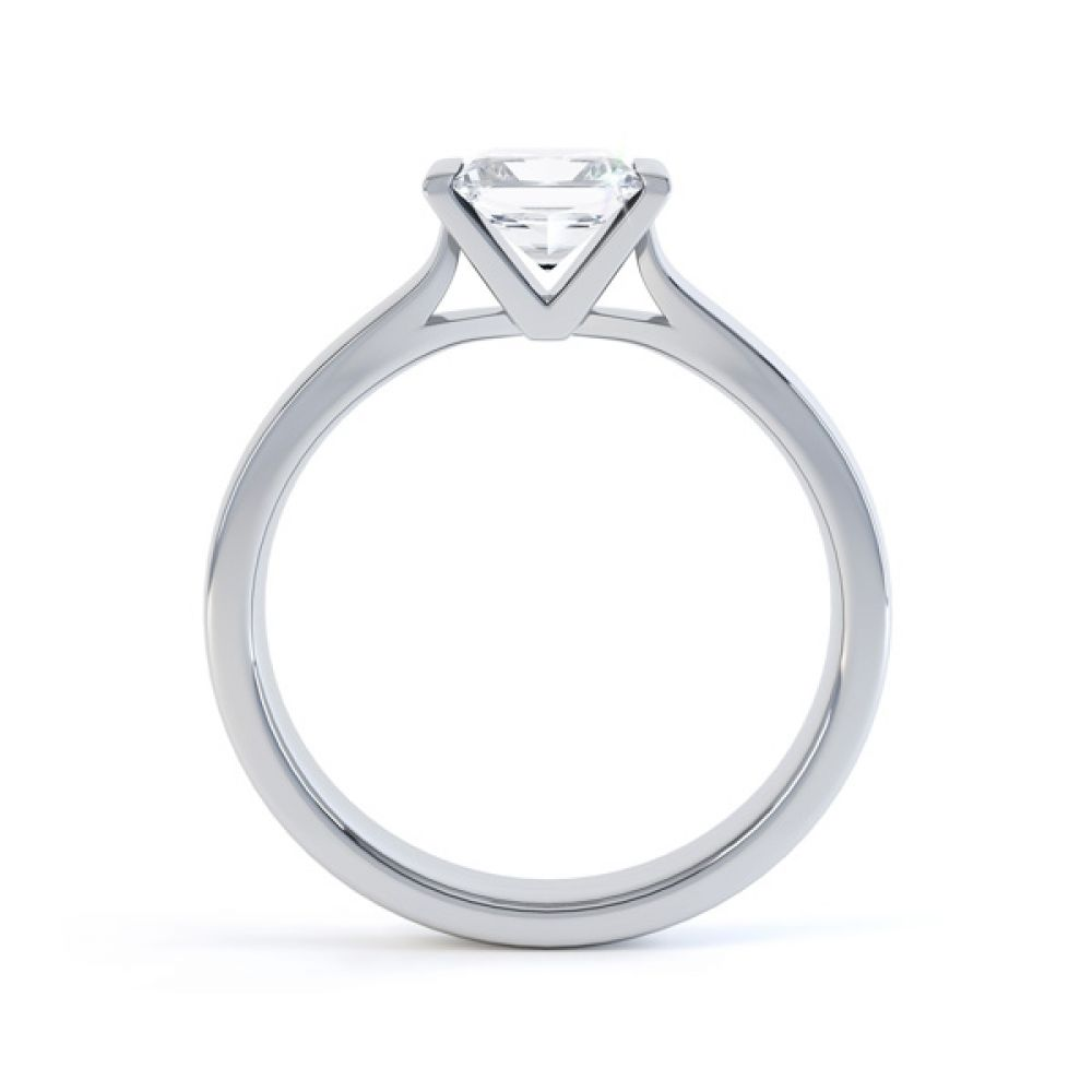 Tension Bar Set Princess Diamond Solitaire Ring Side View