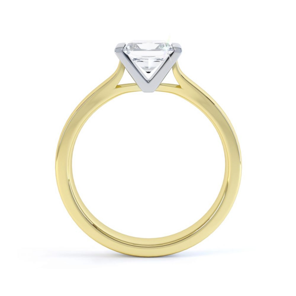 Tension Bar Set Princess Diamond Solitaire Ring Side View In Yellow Gold