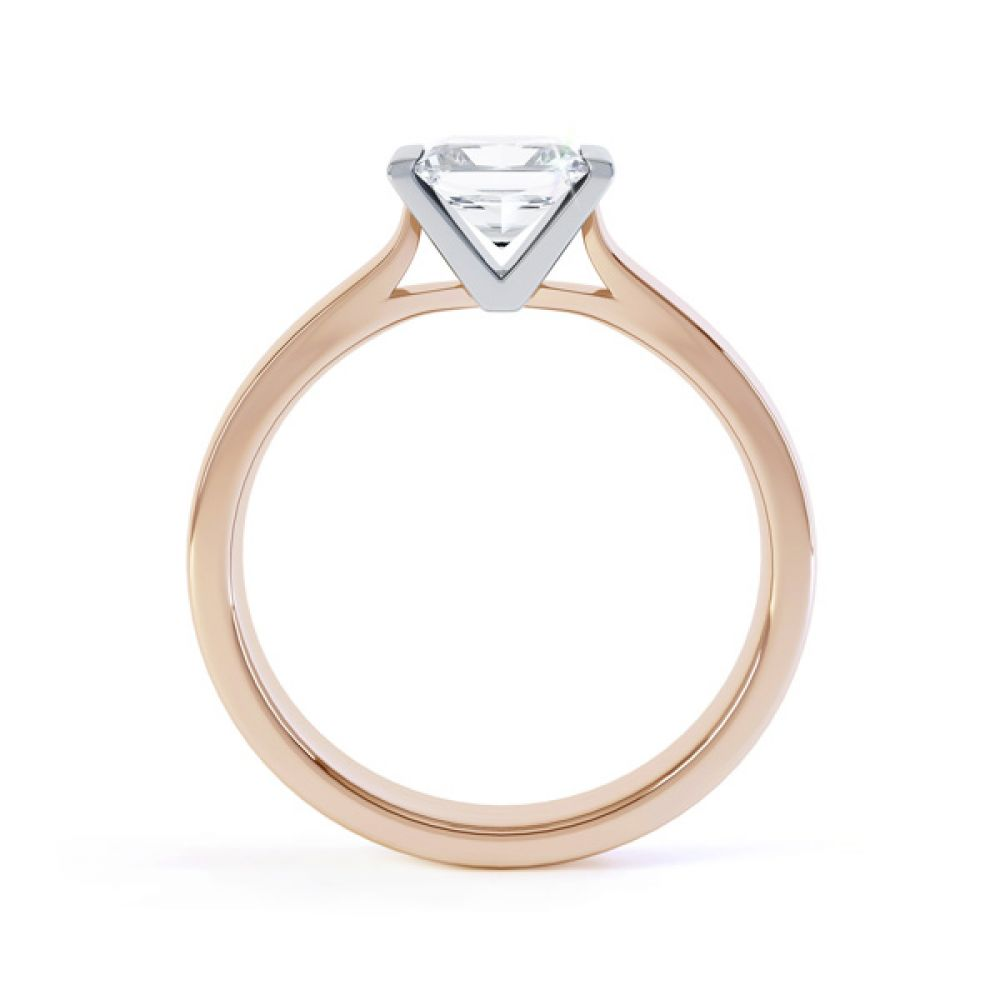 Tension Bar Set Princess Diamond Solitaire Ring Side View In Rose Gold