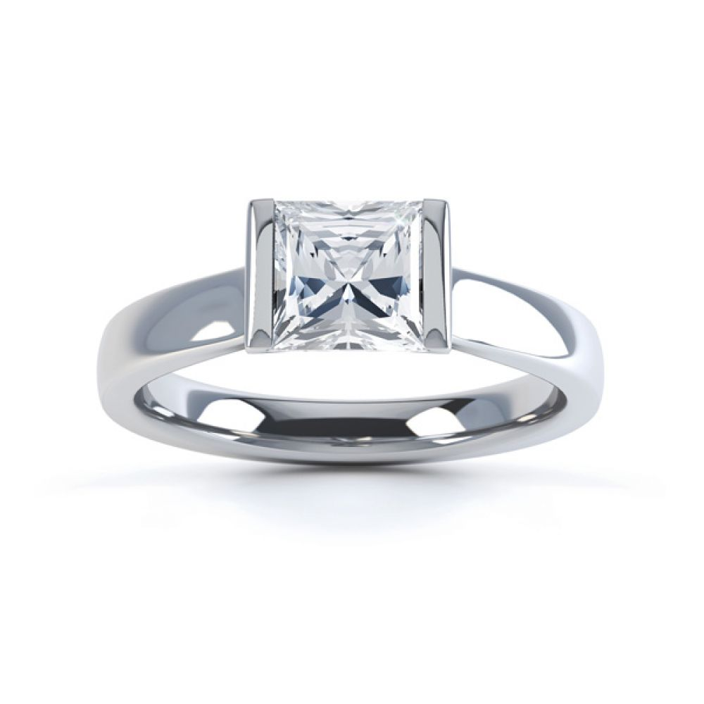 Tension Bar Set Princess Diamond Solitaire Ring Top View