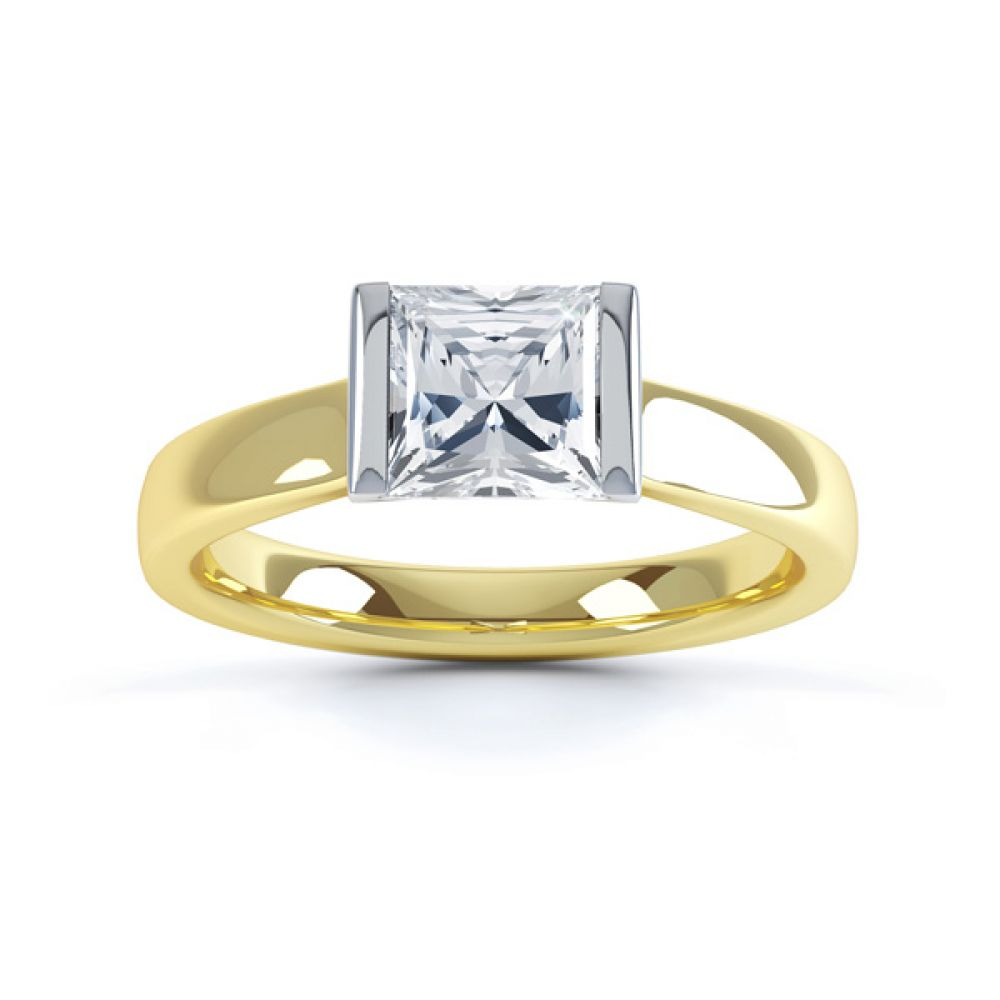 Tension Bar Set Princess Diamond Solitaire Ring Top View In Yellow Gold
