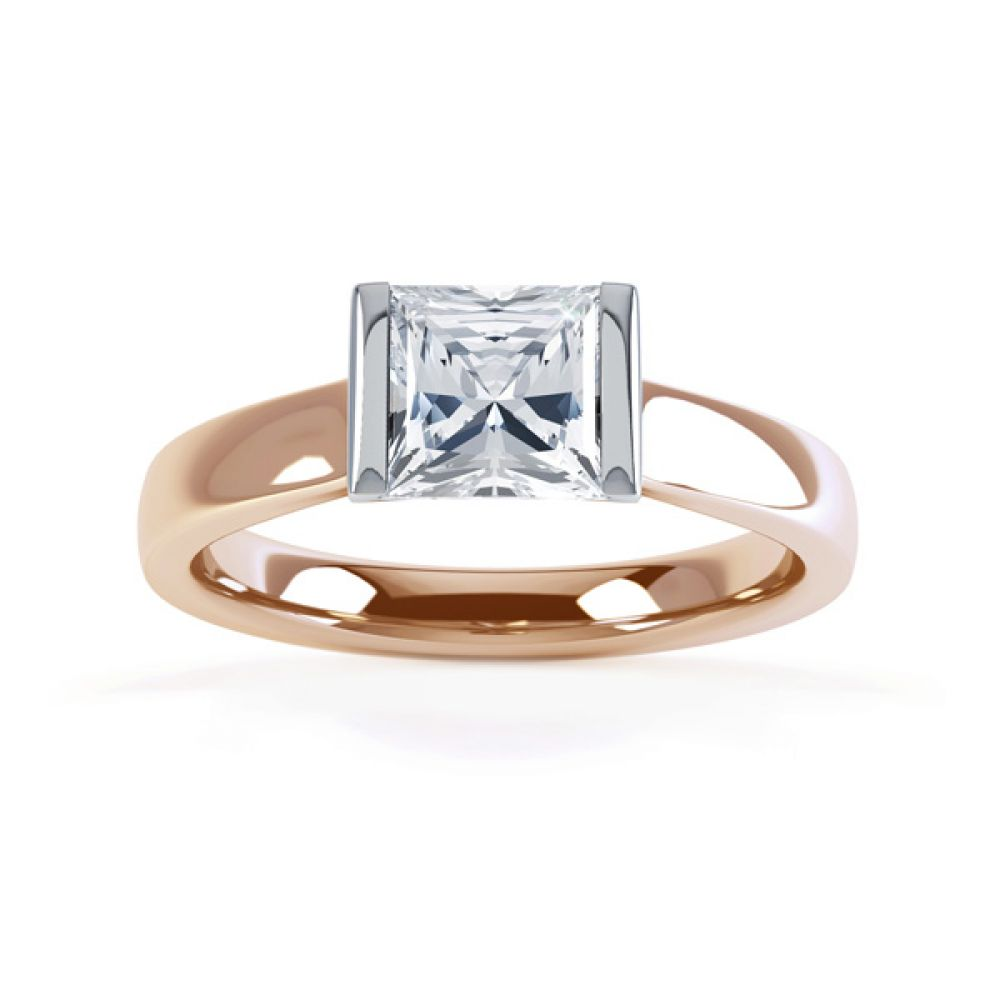 Tension Bar Set Princess Diamond Solitaire Ring Top View In Rose Gold