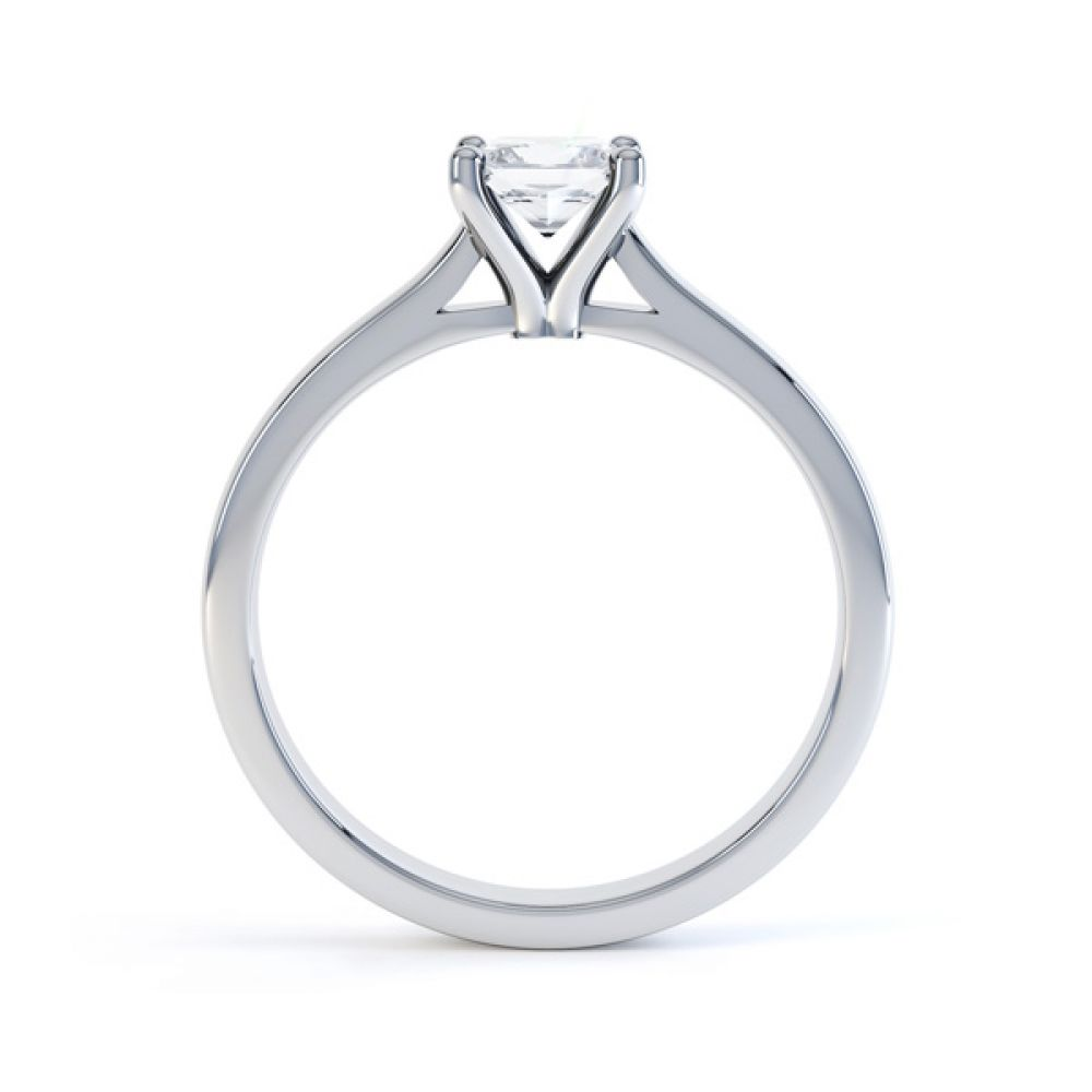Slim Shoulder 4 Claw Princess Diamond Engagement Ring Side View