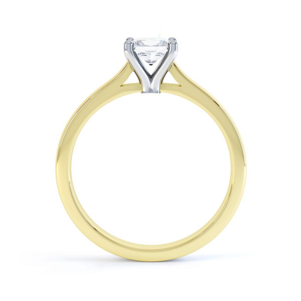 Slim Shoulder 4 Claw Princess Diamond Engagement Ring Side View In Yellow Gold