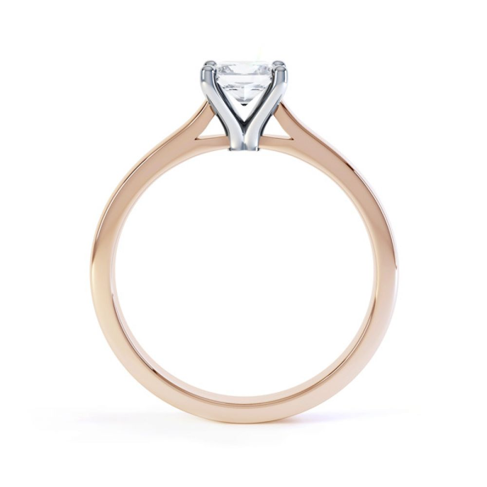 Slim Shoulder 4 Claw Princess Diamond Engagement Ring Side View In Rose Gold