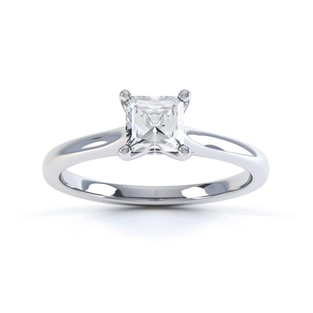 Slim Shoulder 4 Claw Princess Diamond Engagement Ring Top View