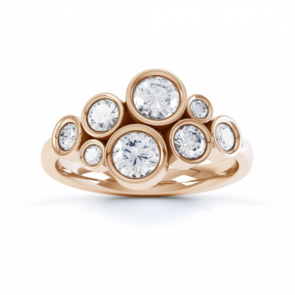 Diamond bubble ring top view rose gold