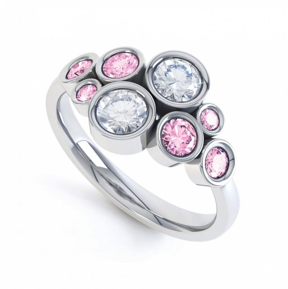 Pink sapphire and diamond bubble ring white gold