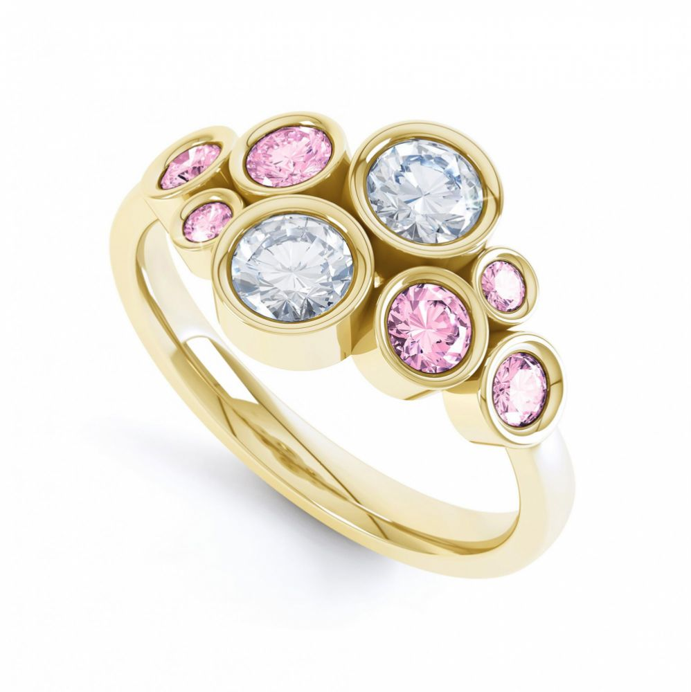 Pink sapphire and diamond bubble ring yellow gold