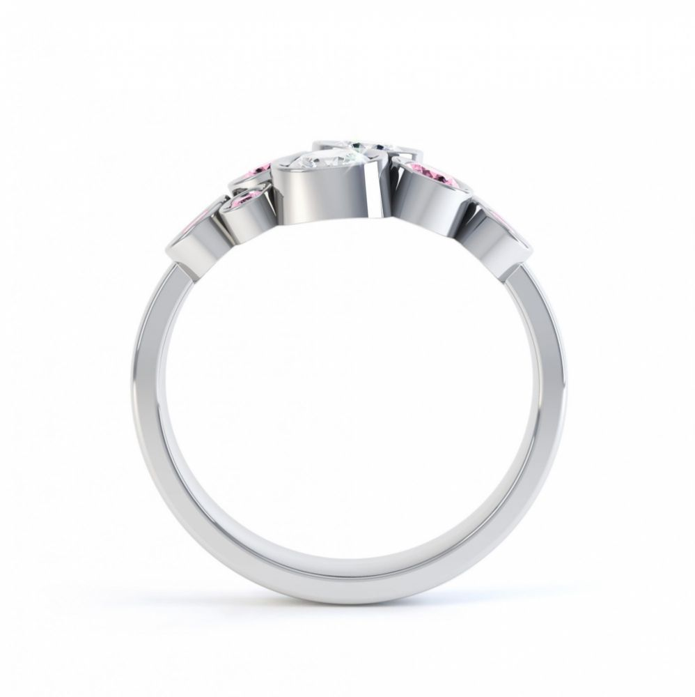 Pink sapphire and diamond bubble ring white gold side view