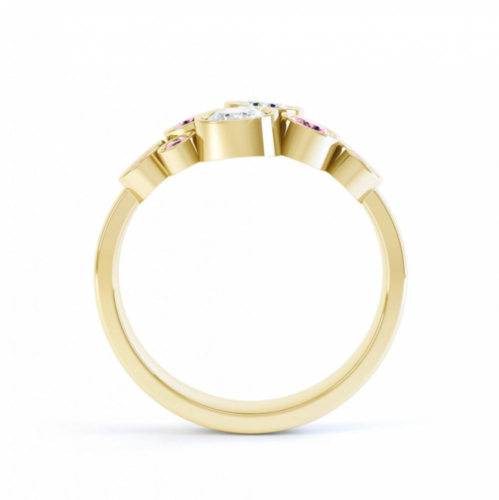Pink sapphire and diamond bubble ring yellow gold side view