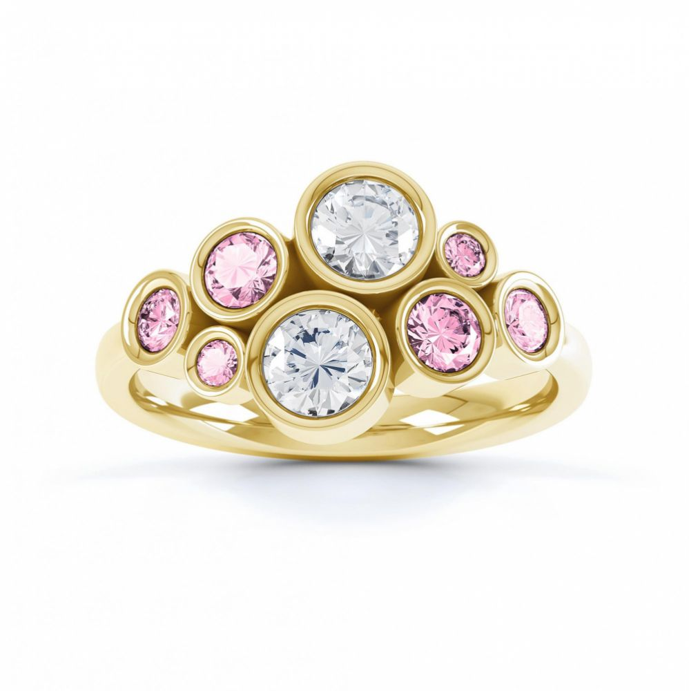 Pink sapphire and diamond bubble ring yellow gold top view