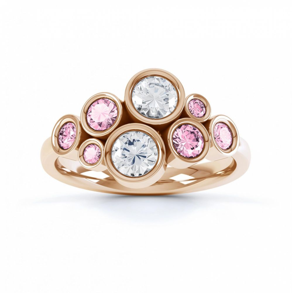 Pink sapphire and diamond bubble ring rose gold top view