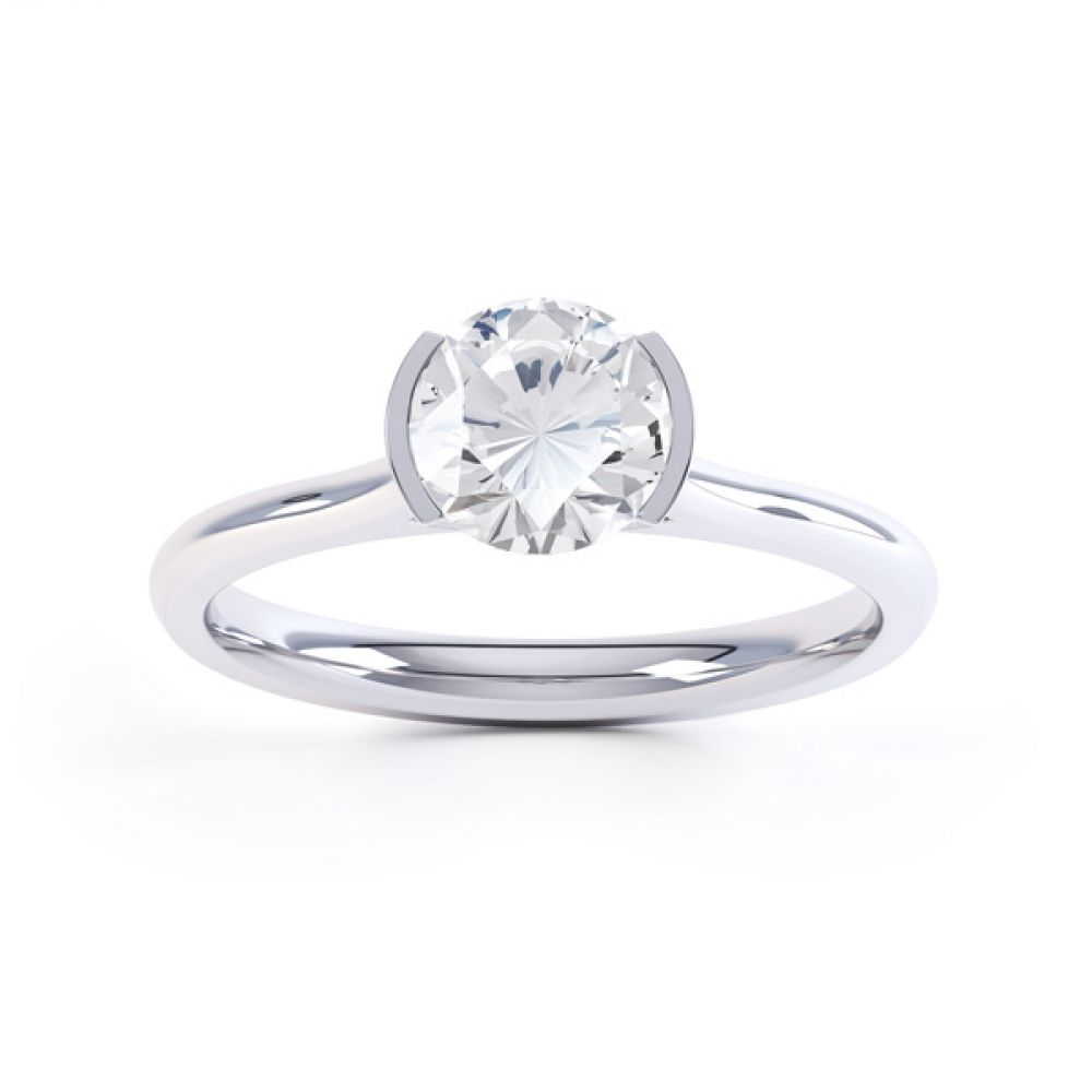 Fluted Part Engagement Ring with High Setting Front View