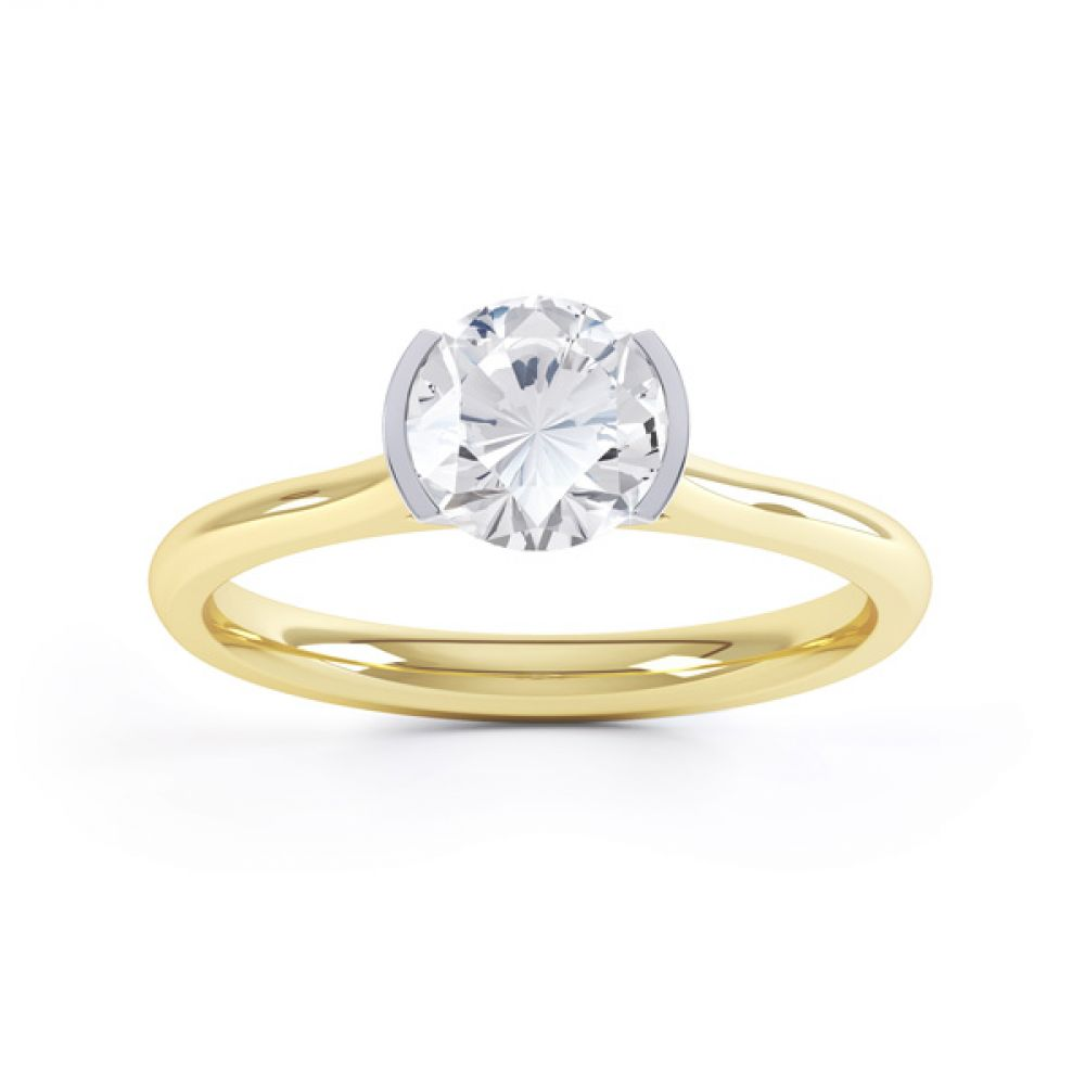 Fluted Part Engagement Ring with High Setting Front View In Yellow Gold