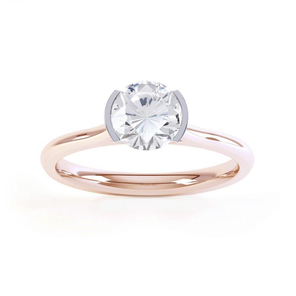 Fluted Part Engagement Ring with High Setting Front View In Rose Gold