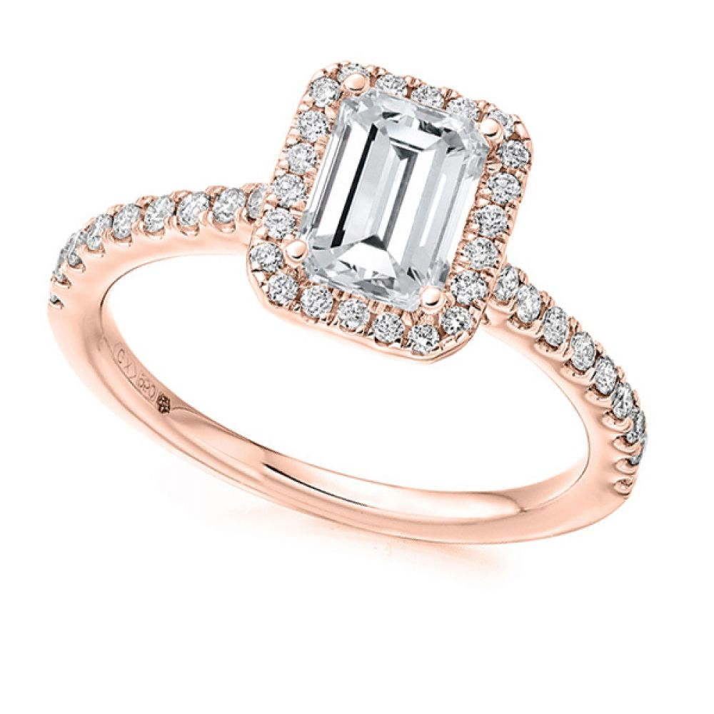 Emerald Diamond Halo Ring with Diamond Shoulders Rose Gold