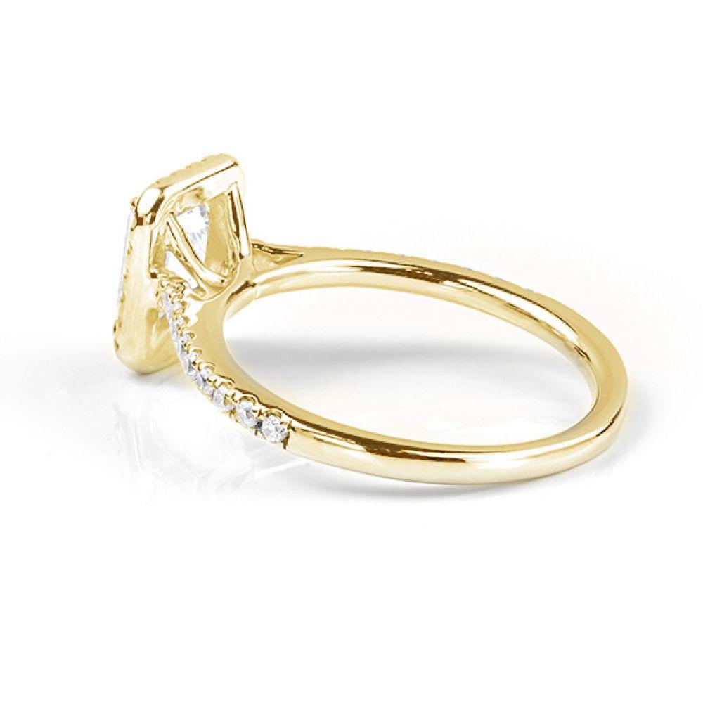 Kiera emerald cut diamond halo engagement ring yellow gold side view