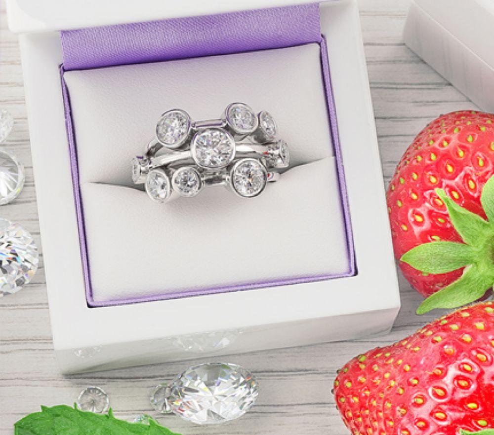 Diamond Bubble Ring in Raindance Style