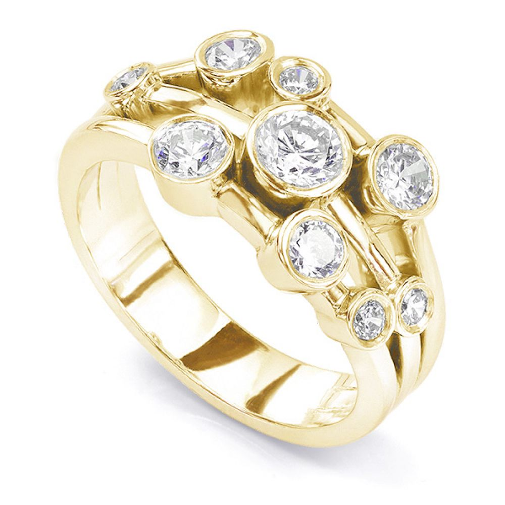 1 carat diamond bubble, raindance inspired ring in yellow gold