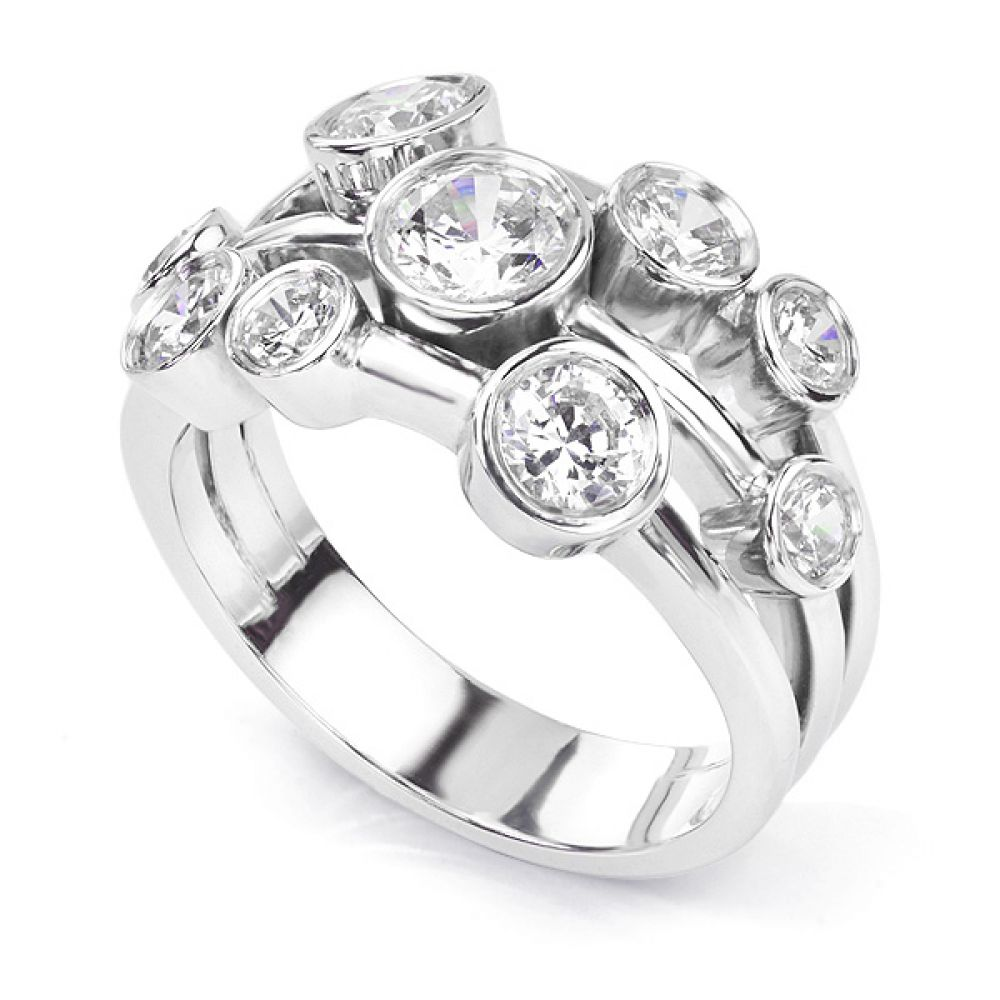 Delancey 1.50 carat diamond bubble ring in Platinum