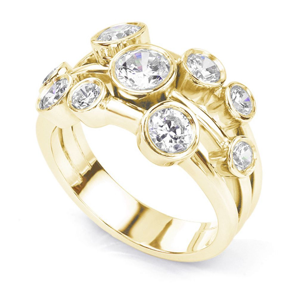 Delancey 1.50 carat diamond bubble ring in Yellow gold