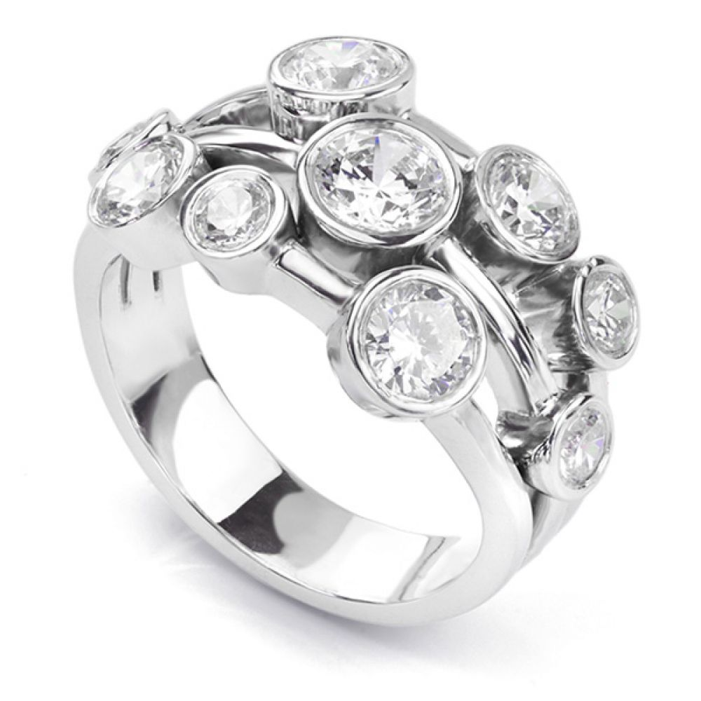 White gold 2 carat diamond raindance inspired bubble ring in white gold
