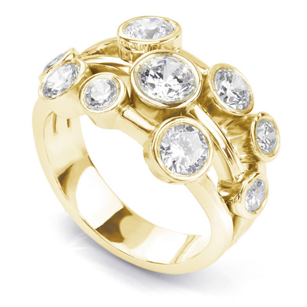 White gold 2 carat diamond raindance inspired bubble ring in yellow gold