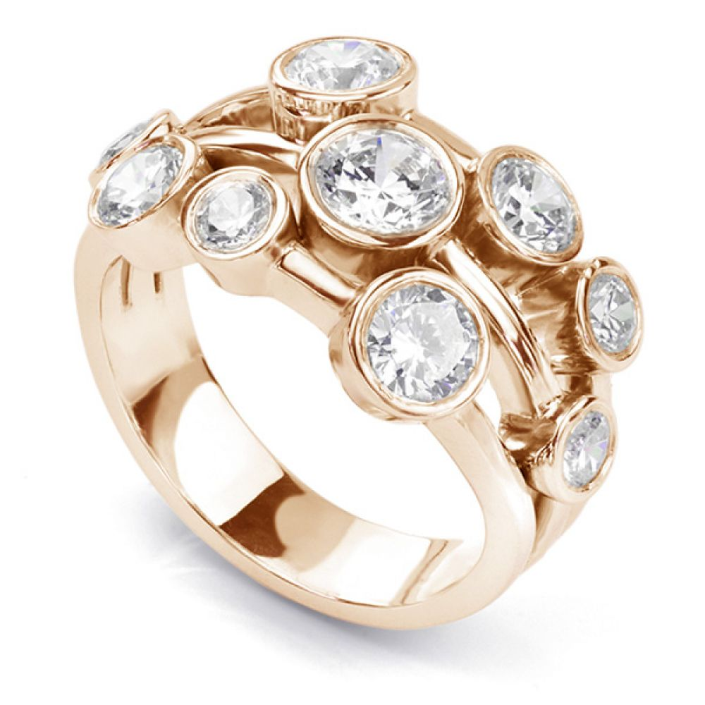 White gold 2 carat diamond raindance inspired bubble ring in rose gold