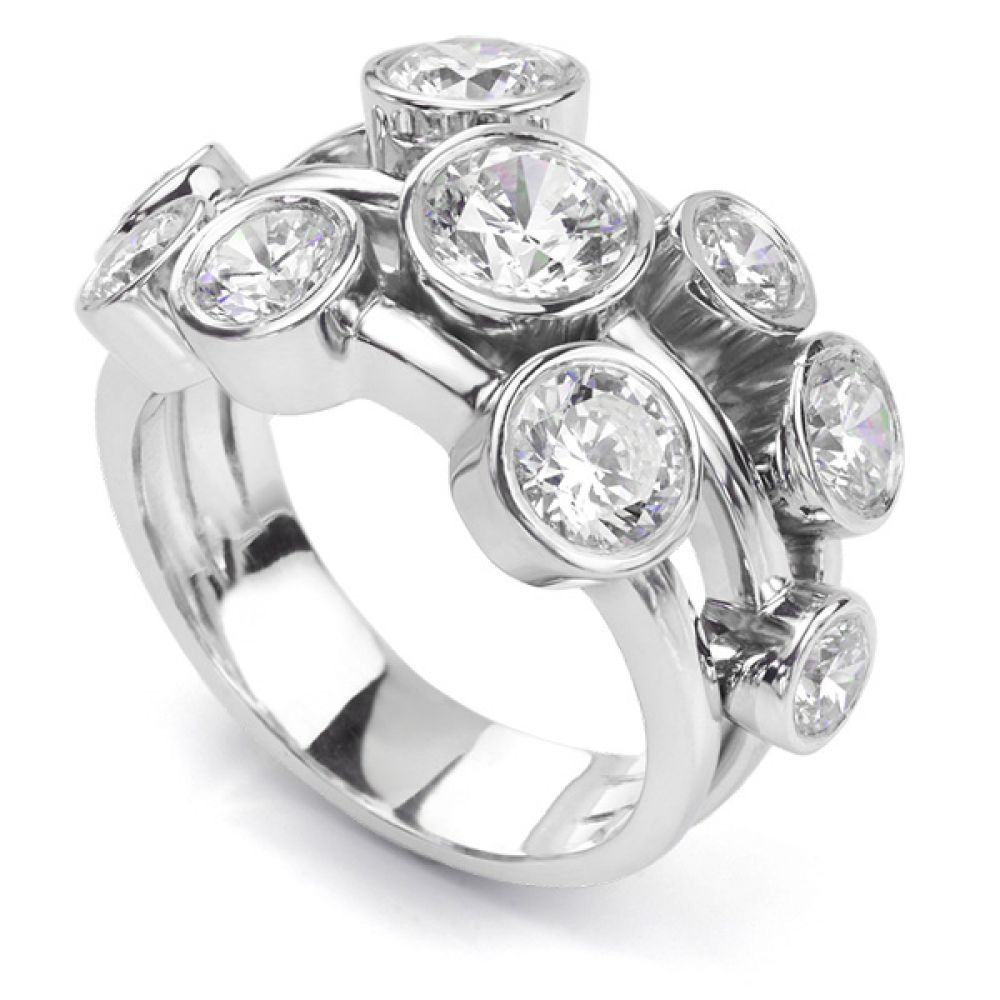 Carnegie 3 Carat Diamond Bubble Ring in Platinum