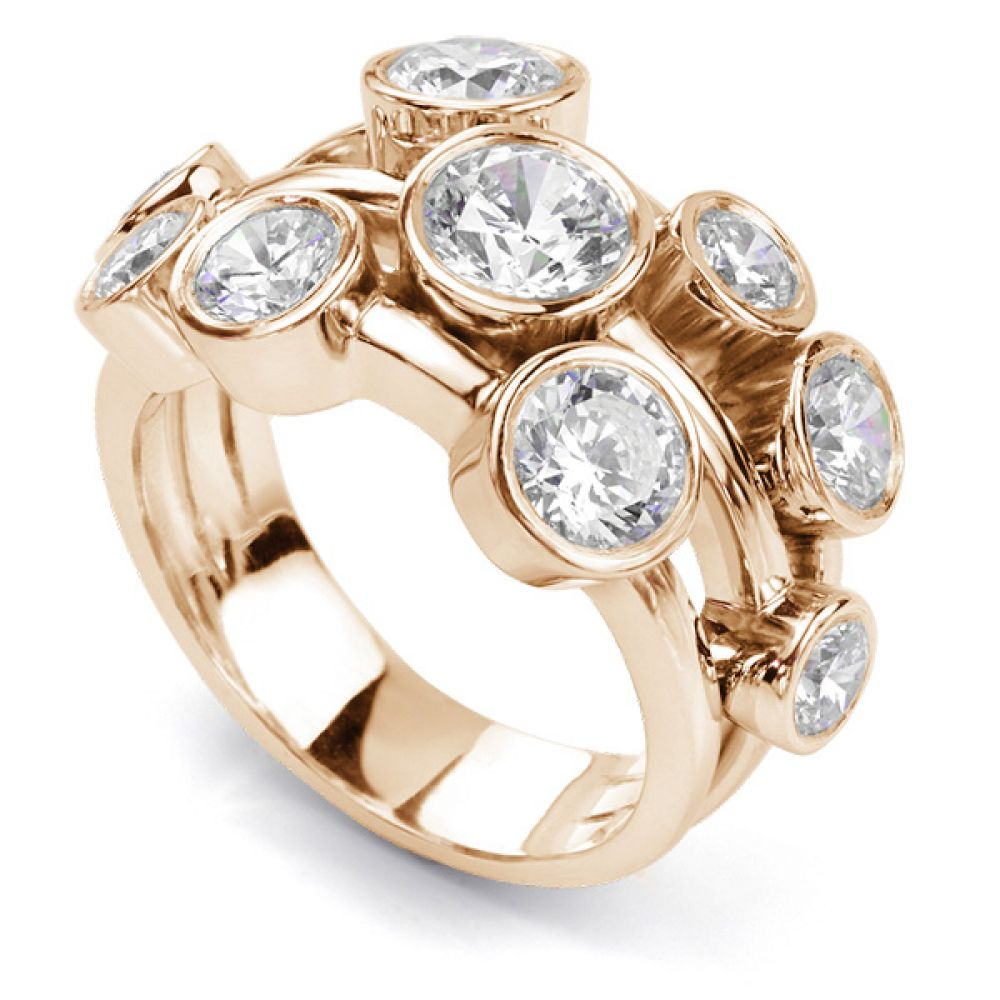 Carnegie 3 Carat Diamond Bubble Ring in Rose Gold