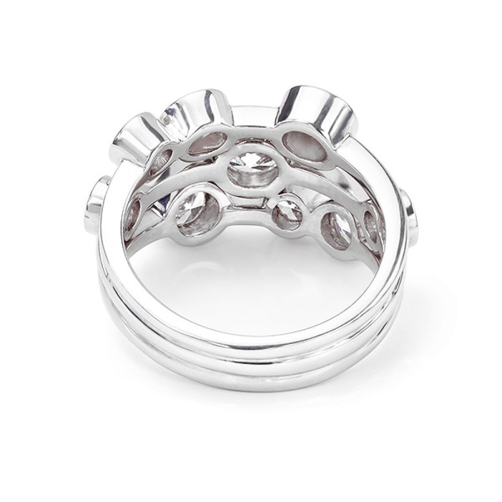 Rear view of the Raindance style diamond bubble ring Madison