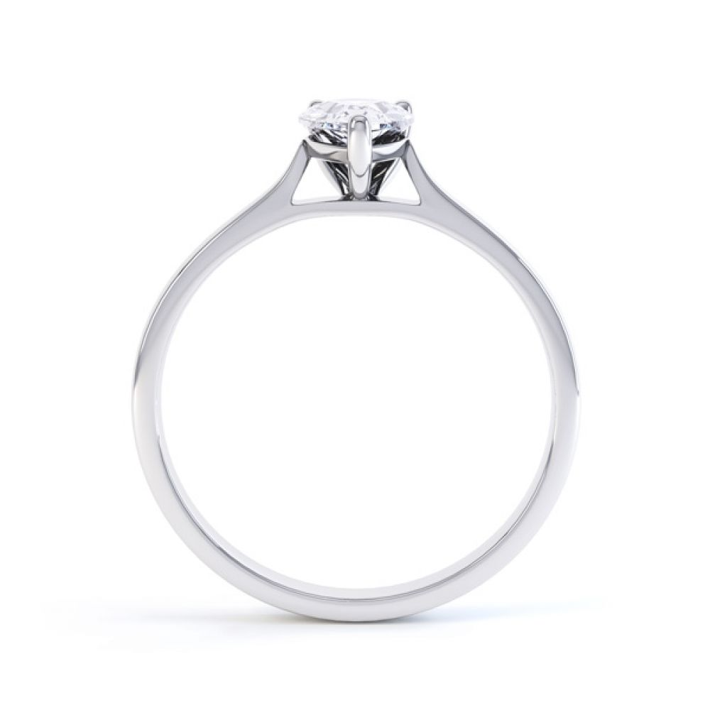 Round Claw Pear Shaped Solitaire Engagement Ring Side View