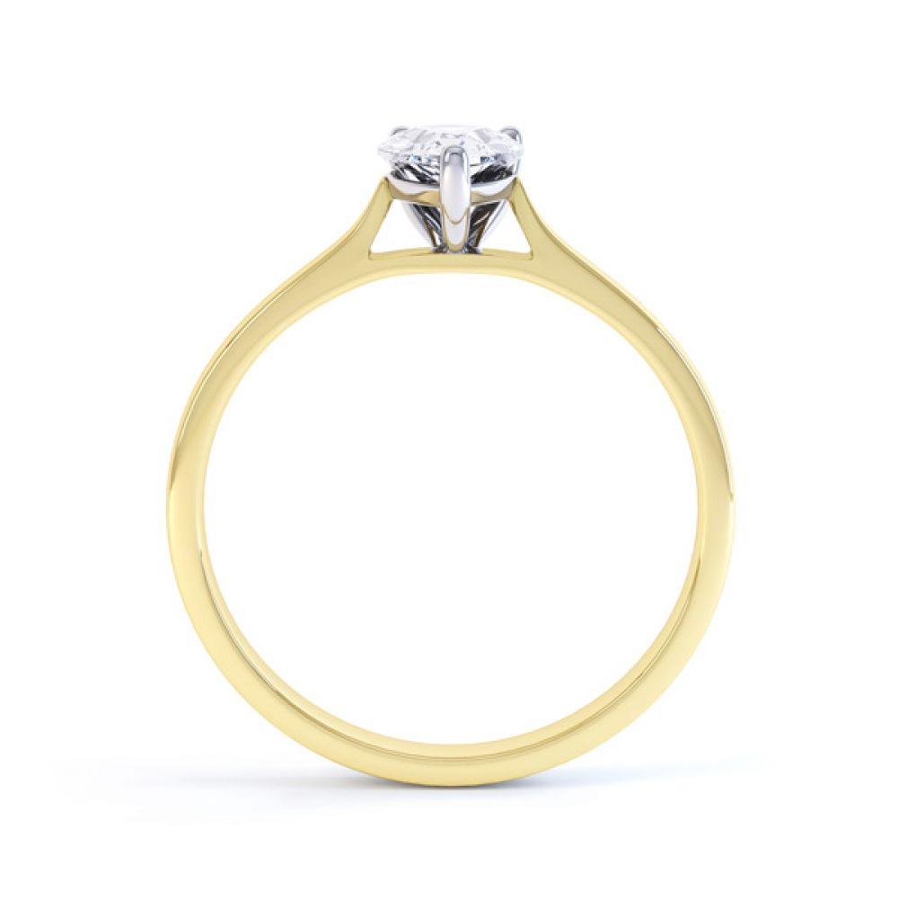 Round Claw Pear Shaped Solitaire Engagement Ring Side View In Yellow Gold