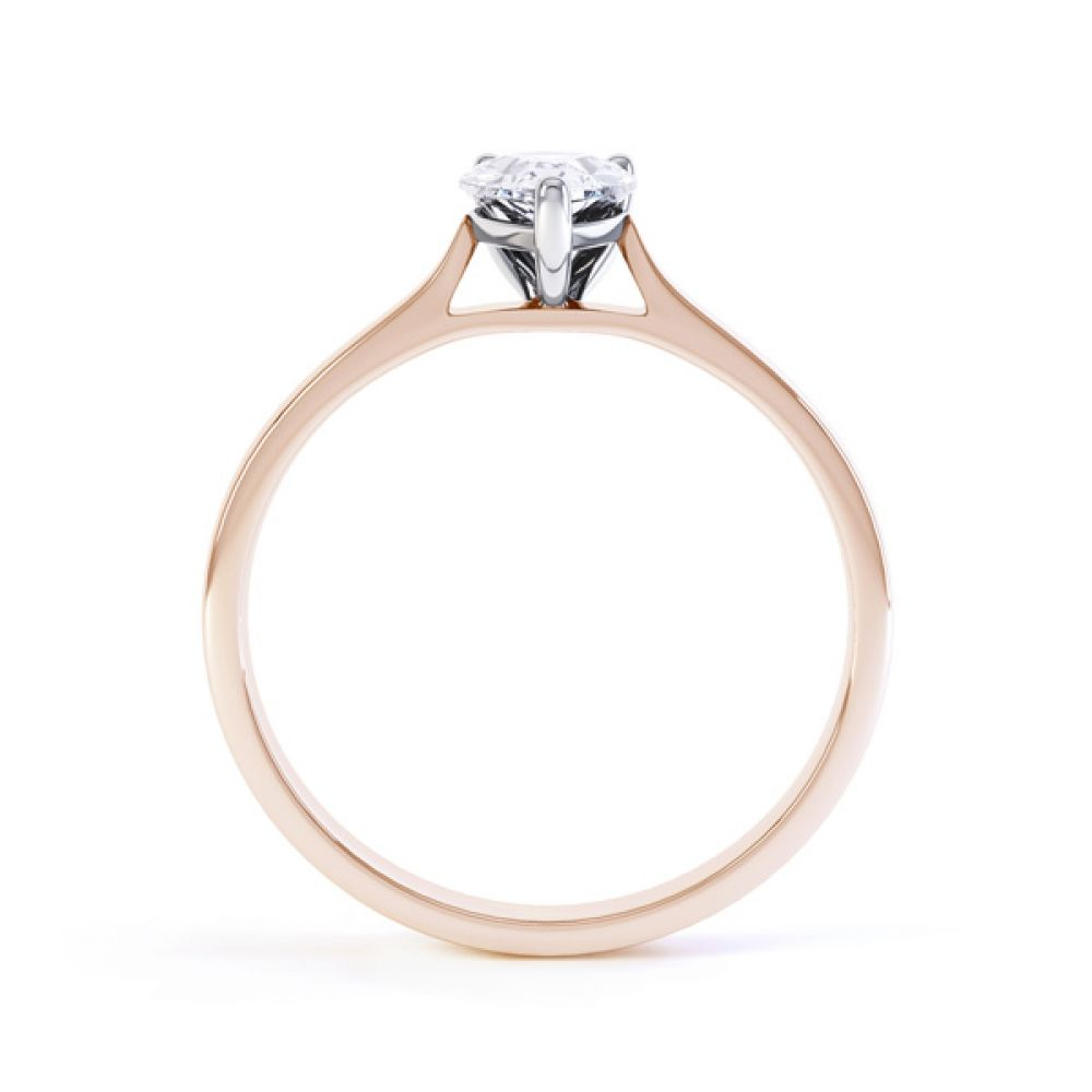 Round Claw Pear Shaped Solitaire Engagement Ring Side View In Rose Gold