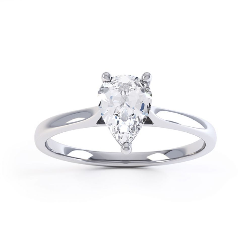 Round Claw Pear Shaped Solitaire Engagement Ring Front View
