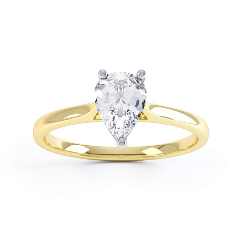 Round Claw Pear Shaped Solitaire Engagement Ring Front View Yellow Gold